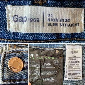 GAP Jeans - Gap High Rise Slim Straight Jeans Raw Hem 31R